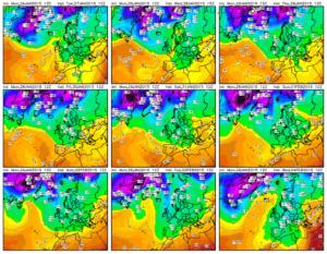 Panel de predicción a 10 días de las temperaturas a 850hp (1.500m de altura) del modelo GFS.