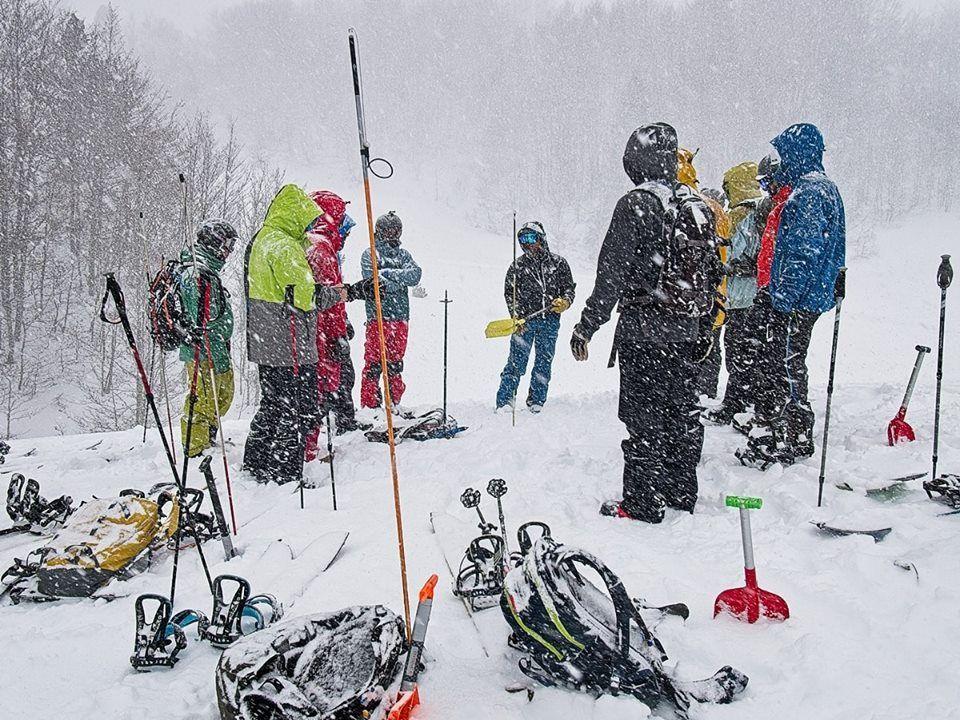 Splitboarders parados en la nieve mientras nieva